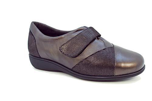 Doctor Cutillas 53560 Zapato Velcro Piel y Lycra, Plantilla Extraible (Marrón, 37)