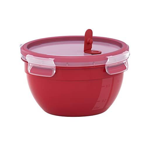 Emsa N1060500 Clip & Micro Mikrowellendose rund (Fassungsvermögen: 1,1 Liter, Emsa Frischedichtung, Kunststoff) Rot