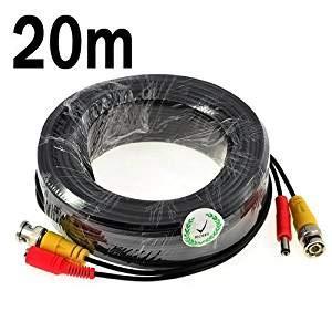 KKmoon 20m/65 pies Cable Siamés BNC Video Fuente de Alimentación para Kit CCTV Cámara de Vigilancia DVR Sistema Seguridad Hogar