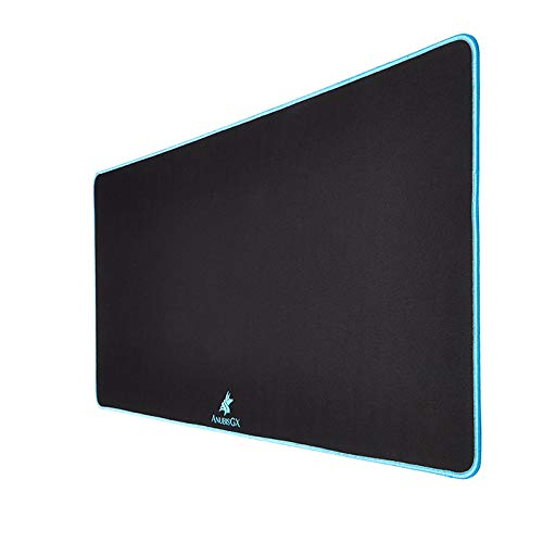 AnubisGX (39 Color/Size Options) Gaming Mouse Pad (Extended: 36x12), Black Pad with Light Blue Stitching. Best Premium Waterproof Non RGB Computer Gaming XL Desk Pad Mat, Large Non-Slip Gamer Mousepad