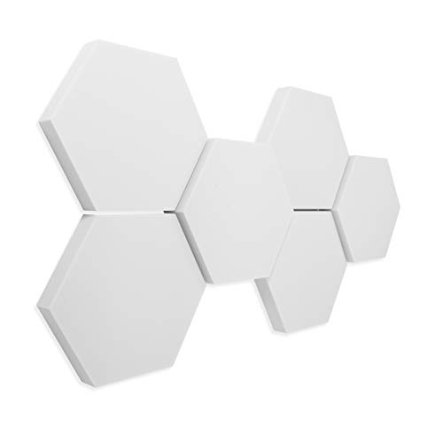 6 Basotect ® G+ Schallabsorber 3D-Set Hexagon Akustik Elemente 30/50 mm - platino24 ® - Qualitäts-Schallabsorber