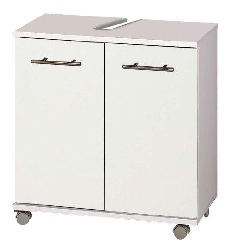 lifestyle4living Waschbeckenschrank in Weiß | Badezimmerschrank auf Rollen mit 2 Türen und 1 Einlegeboden
