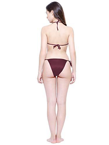 VINDHWASHNI Satin Nylon Lycra Spandex Bikini Set for Women for Beach Lingerie for Women Sexy Lingerie for Honeymoon Sex Lingerie Set Bra Panty Set for Women with Sexy Bra Panty Set  (Choclate/Brown)