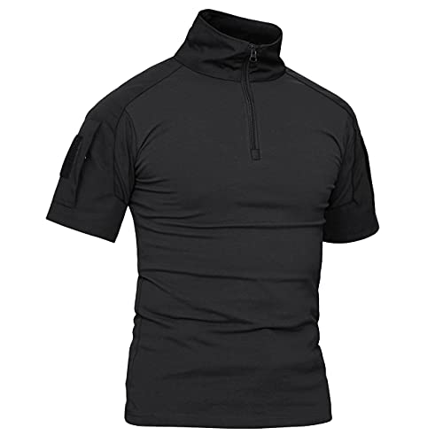 KEFITEVD Taktisch Shirt Herren Kurzarm Militär T-Shirt Stehkragen Atmungsaktiv Tactical Hemd Airsoft Uniform Arbeitsshirt Outdoor Schwarz XL