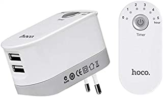 2.4 A dual USB fast charger with intelligent time control - White