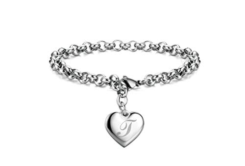 Initial Charm Bracelets Stainless Steel Heart Letters T Alphabet Bracelet for Women
