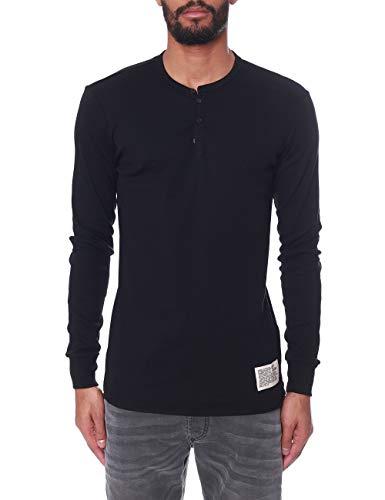 Diesel - Camiseta de manga larga para hombre, color negro Negro XL