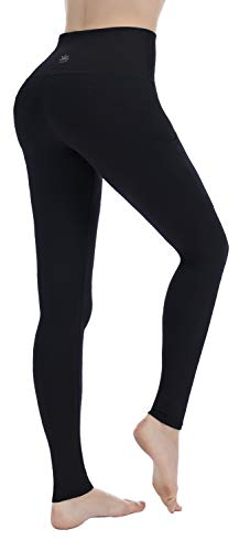 PUNZYMO Leggings for Women with Pockets, Yoga Pants Workout Leggings High Waist Tummy Control Black