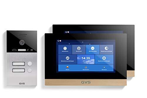 GVS AVS4079A - Videoportero de 4 cables/IP con RFID, 2 monitores de 10 pulgadas, App, cámara HD de 120 °, apertura de puerta, 32 GB de memoria, conmutador PoE, 2 juegos de casa familiar