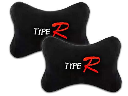 CARALL - Cojín para Silla de Juego de 2 Piezas, Cojines para reposacabezas de Coche, Almohadas de Viaje, para reposacabezas y Cuello (Negro Type R)