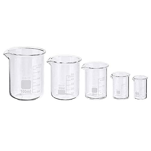 WICKER WEAVING Experimentelles Becherglas 5 Teile/Satz Glasbecher 5/10/25/50 / 100ml Labormesskasse Glaswaren für Schulstudie Labor-Becher-Set Labor, Backen.