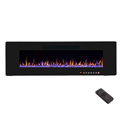 """R.W.FLAME 50"""" Electric Fireplace, Recessed Wall Mounted and in-Wall Fireplace Heater, Fit for 2 x 6 Stud,Remote Control with Timer, Touch Screen, Adjustable Flame Colors and Speed, 750/1500W"""