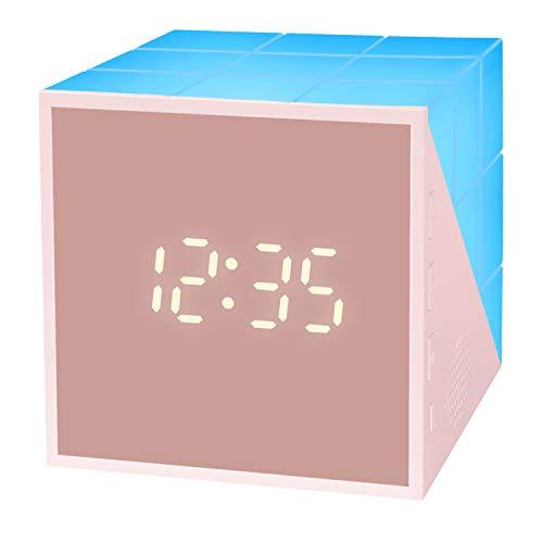 Juboos 【2020 New Kinderwecker Jungen】 Wecker Digitaler LED Wecker Uhr Cube Kinder Kinder Lichtwecker Creative Nachttischlampe Snooze-Funktion, Nachtlicht, Lichtwecker für Kinder, Mädchen (Rosa)