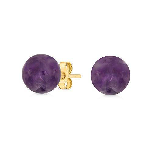 Piedra De Nacimiento Amatista Púrpura Pendiente De Boton Bola Para Mujer Verdadero Oro Amarillo 14K De 6Mm De Febrer
