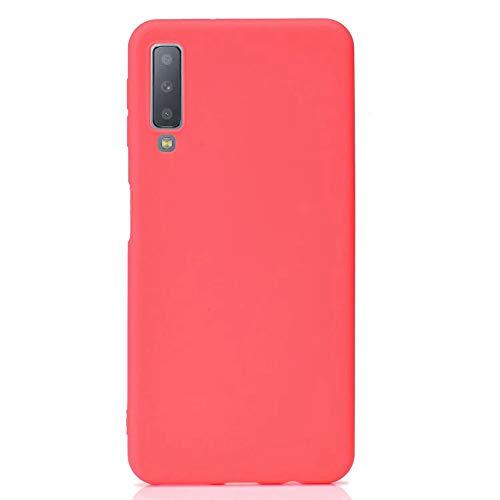Capa para Galaxy A7 (2018), SHUNDA Ultra Slim Soft TPU Silicone Fosco Capa à Prova de Choque para Samsung Galaxy A7 (2018) - Vermelho
