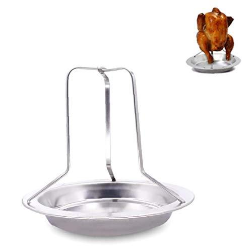 JRXyDfxn 1PC Hähnchenbräter Rack-Folding Edelstahl Vertikal Roaster Hühnerhalter mit Tropfwanne für Ofen oder Grill Nützliche Küchenzubehör (Silber)