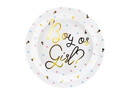 PartyDeco- Lot de 6 Assiettes en Carton de 23 cm avec Inscription « Boy Or Girl ». pour Gender Reveal Party, TPP44
