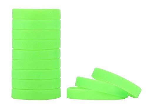 MoMolly 12Pcs Silicone Wristband Bracelet Blank Sports Wristbands Rubber Personalized Custom Wrist Bracelets (Light Green)