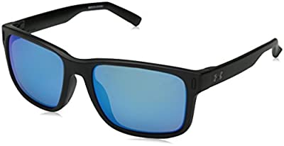 Under Armour Assist Sunglasses Square, SATIN BLACK/GRAY WITH BLUE MIRROR, M/L