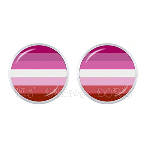 Pendientes Bi Pride 12 mm de cristal cúpula Stud Pendientes gay Pride Rainbow Flag Photo Glass Cabujón joyería para mujeres hombres amantes