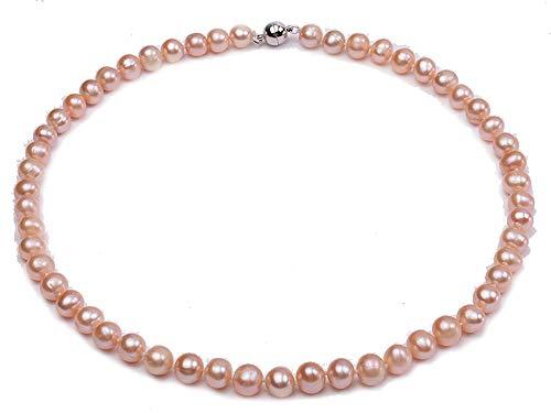 JYX Pearl Damenkette Perlen Collier Halskette klassisches Design aus runden natürlichen 9 mm Süßwasserperlen, Rosa, 46 cm