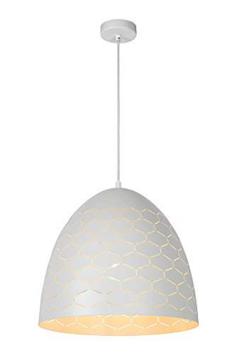 Lucide 43408/40/31 Galla Suspension, Métal, E27, 60 W, Blanc, 40 x 40 x 168 cm