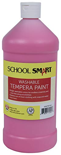 School Smart Washable Tempera Paint, Quart, Pink