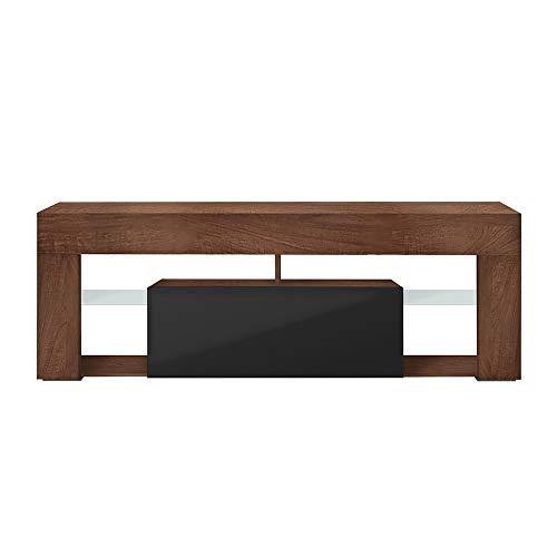 Selsey HUGO - Mobile TV/Tavolino TV con Luci LED/ 140cm / Colore Noce con Nero Lucido