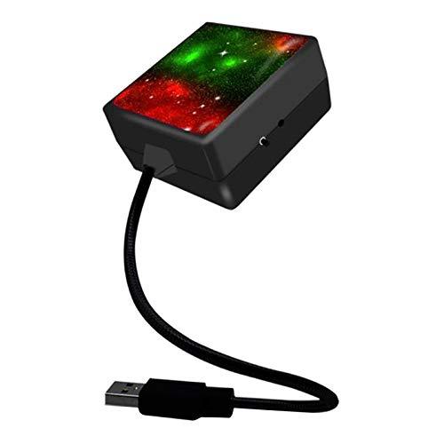 H HILABEE Proyector de luz Nocturna Estrella USB, Luces de Techo Interiores Ajustables para Auto, luz estroboscópica de atmósfera para el Techo de la Fiesta del - Rojo, Verde