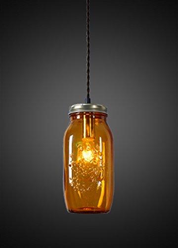 Design Tree Home Amber Jar Pendant, Mason Jar Ceiling Light, Orange