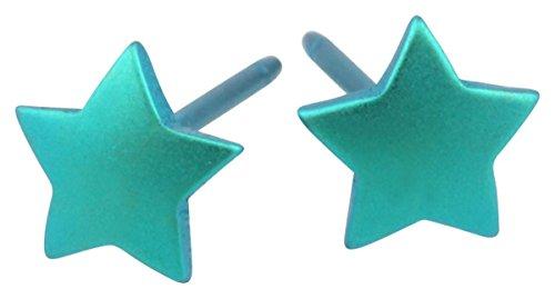 Ti2 Titanium Womens Geometric Star Stud Earrings - Kingfisher Blue