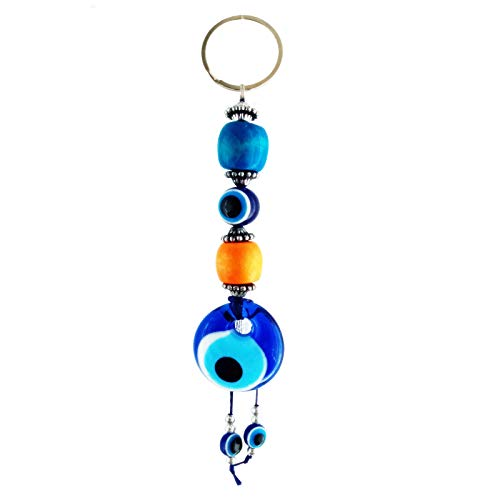 MoonShield Handmade Glass Evil Eye & Blue Nazar Bead - Home Decor Ornament Big Good Luck Charm - Wall Hanging Beads for doorways - Make a Difference in Your Home Office and Car - Best Gift Idea