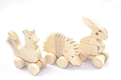 3er Set, Kleine Tiere aus Holz auf Rädern, Holzfiguren zum Bemalen und Gestalten, kreatives Spielen, Holz Fichte