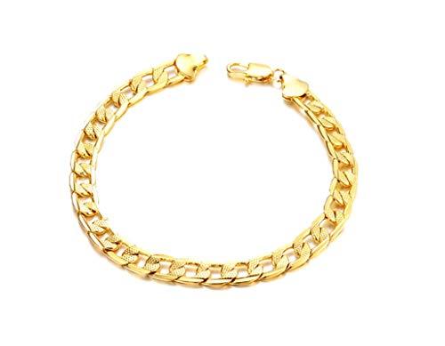 ANAZOZ sieraden legering dames link armbanden gegraveerd bloem patroon Curb ketting goud 20,5 cm