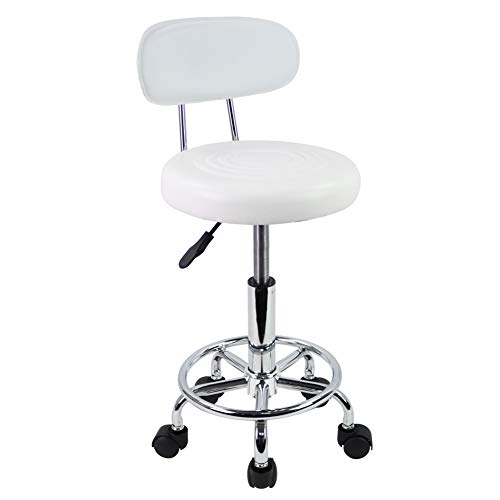 KKTONER PU Leather Modern Rolling Stool with Low Back Height Adjustable Work Salon Drafting Swivel Task Chair with Footrest (White)