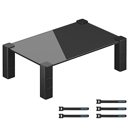 BONTEC Supporto Monitor da Scrivania in Vetro,Supporto per Monitor Regolabile in Altezza, Rialzo Monitor per Laptop, Computer, iMac, PC, Stampante, Alza monitor Fino a 40kg con 5x Velcro