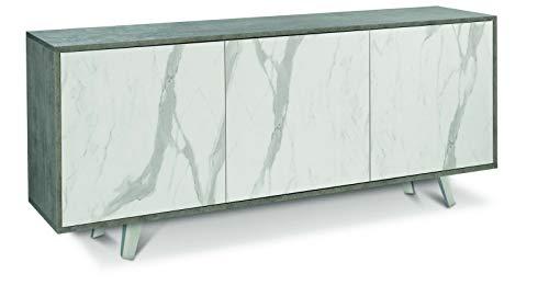 Patrasso Plus Credenza 3 Ante, Mobile Mobiletto Da Buffet Soggiorno Sala da Pranzo Cucina Madia Multispazio, Made in Italy, 177 x 74 x 41 cm, Grigio Cemento Effetto Marmo