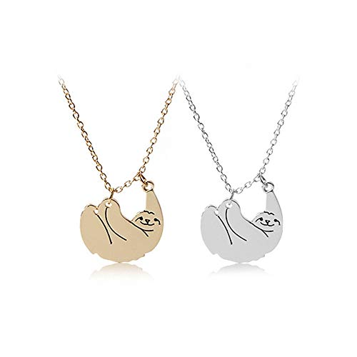 Mingjun WISH Pendant Sloth Necklace Animal Pendant 2 Piece Set Friendship Nacklace Necklace Ball Chain Gift for Son Daughter Birthday Graduation