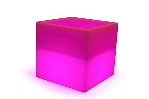 LED Boîte de cube 40 cm Seau à champagne à glacons multicolore RGB 16 couleurs sans câble avec accumulateur et télécommande Etanche et flottant IP65 Extérieur decoration Luminaire