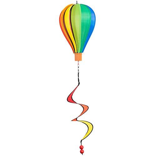 CIM Windspiel - Micro Heißluftballon Regenbogen - wetterbeständig - Ballon: Ø17cm x 28cm, Korb: 4cm x 3.5cm, Spirale: Ø10cm x 35cm - inklusive Aufhängung - Geschenkidee