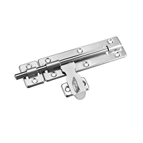 sourcing map Sliding Bolt Gate Latch, 8-inch Stainless Steel Door Hasp with Padlock Hole