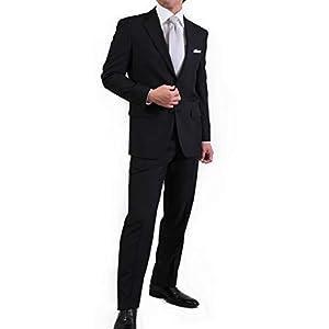 【KOKUBO】フォーマルスーツ メンズ オールシーズン 2つボタン 礼服 ブラックスーツ 結婚式 入学式 冠婚葬祭 アジャスター付 洗えるウォッシャブルパンツ AB体5号