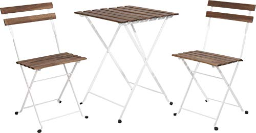 idooka Bistro Garden Table and Chairs - Metal White Frame Acacia Wood Garden Furniture Sets Outdoor Seating- Folding Table & 2 x Foldable Chair Set- 3 Piece Patio Set Square Metal- Balcony Furniture