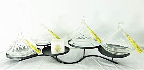 Mystery Souk Complete set met 4 glazen tajines en Arabische theelichthouder (met hamsa).