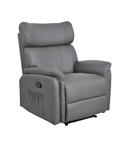 Fine Chairs Manual Bonded Leather Recliner Armchair Sofa Chair Lounger Living Room (Grey)