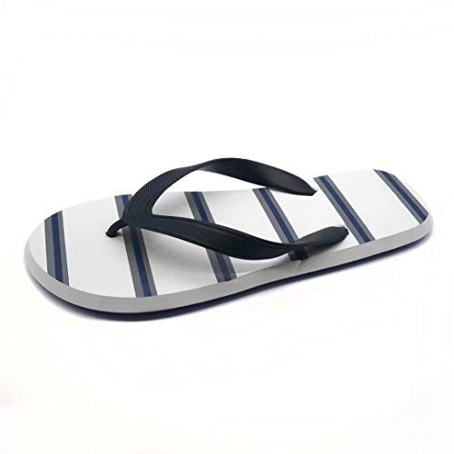 GVCTR Flip-Flops für Herren, gestreifte Flip-Flop-Sandalen mit flachem Boden, rutschfeste Sandalen für den Außenbereich, Strandschuhe, PVC, blau, 42-43