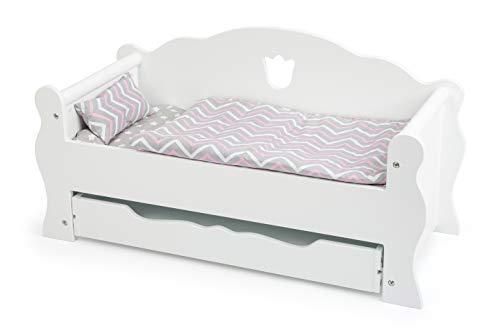 small foot 12024 Puppentagesbett aus Holz, inkl. Matratze, bunter Decke und Kissen, mit Schublade, ab 3 Jahren