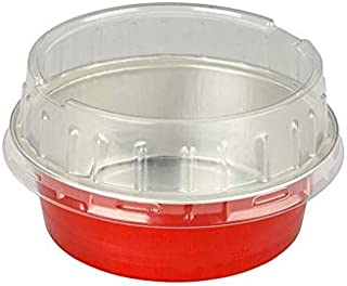KitchenDance Disposable Aluminum Colored 5 Ounce Baking Cups #A41- Pack of 100 (Red, with Stackable Lid)