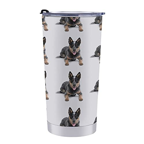 Duarable Stainless Steel Travel Tumbler Cup Travel Coffee Cup Leak Proof Wine Tumbler with Lid, Wide Mouth Australian Cattle Dogs Double Wall Vacuum Insulated Thermal Mug
