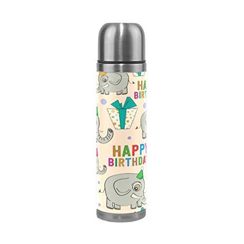 XiangHeFu waterfles verjaardag cartoon olifant reisbeker 17oz sport lekvrij koffie houdt u koud of warm thermoskan